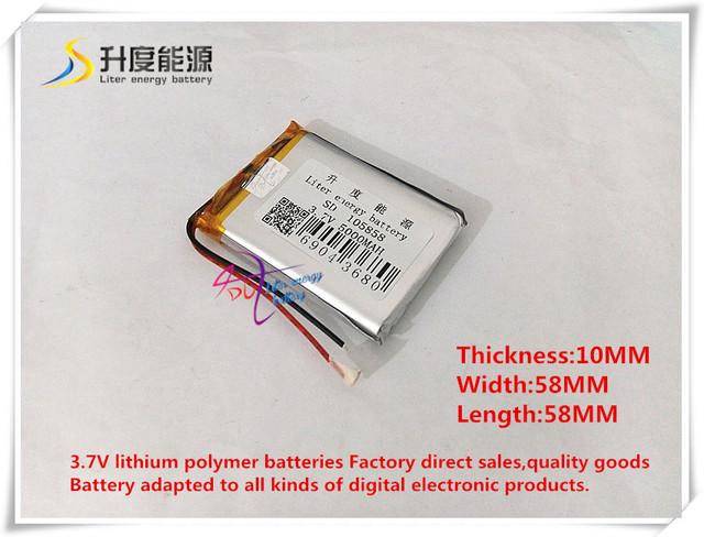 3.7 V 5000 mAH 105858 bateria de polímero de iões de lítio/bateria Li-ion para banco de potência tablet pc DVD GPS do telefone celular