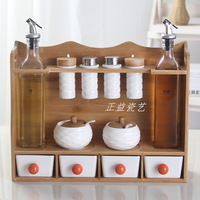 Kitchen condiment jar box glass salt jar bamboo stand ceramic glass jars and lids containers for food honey mason jar