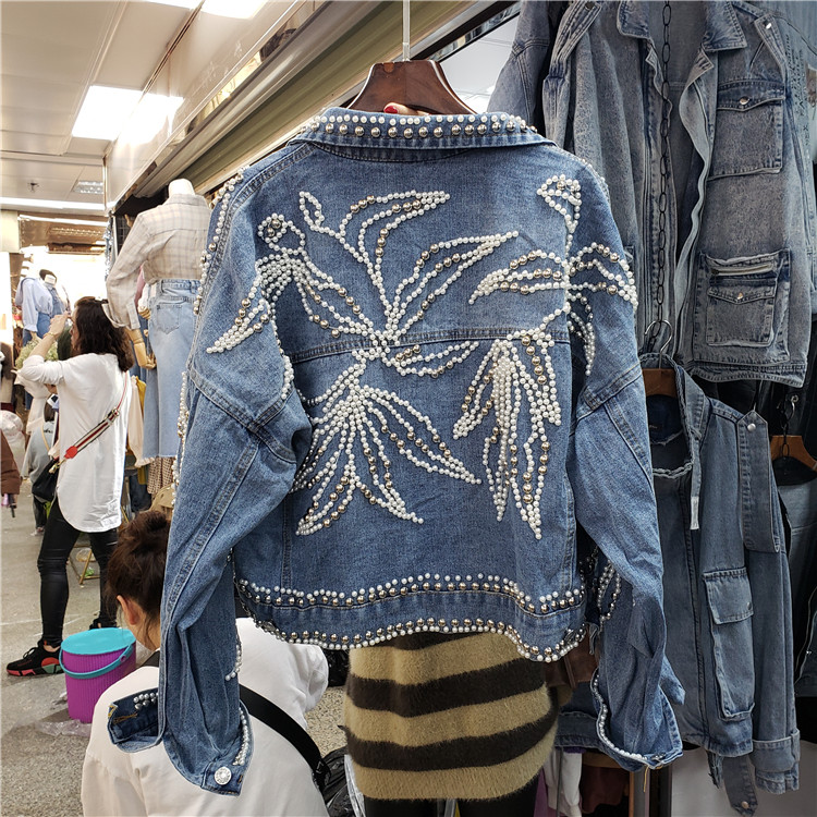 New Heavy Hand Rivet Studded Bead Denim   Jacket   Spring Fall 2019 Women's Loose Short   Jacket   Female Casual   Basic     Jackets   Coats