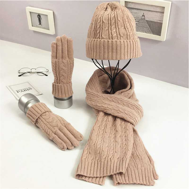 WZCX 2019 New Solid Color Autumn Winter Keep Warm Knitted Hat  Vintage Stripe Casual Tide Women Gloves Neckerchief