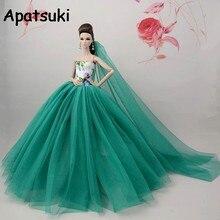 ffb5145227 Verde chino flor muñeca Barbie ropa para muñeca vestido largo cola vestido  de noche ropa vestidos de novia + velo muñeca Accesor.