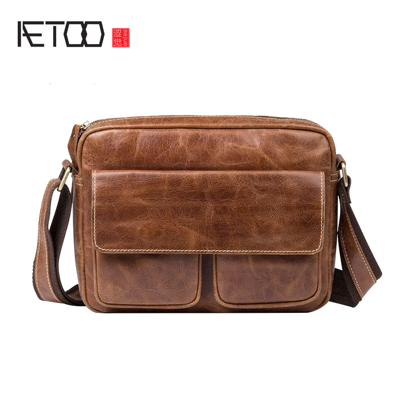 AETOO New men retro first layer of leather shoulder bag men shoulder diagonal package 2018 new crocodile pattern female large bag the first layer of leather luxury women s rectangular shoulder bag diagonal package