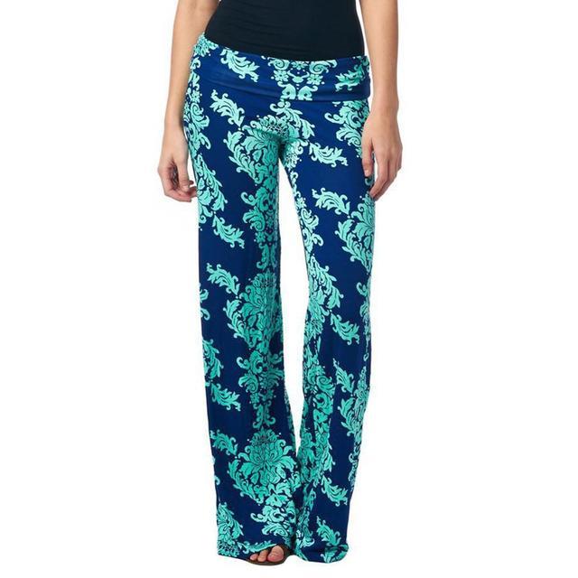 Mulheres verão calça casual calças de cintura alta perna larga calças compridas palazzo calças flare plus size floral clássico exuma pant formal