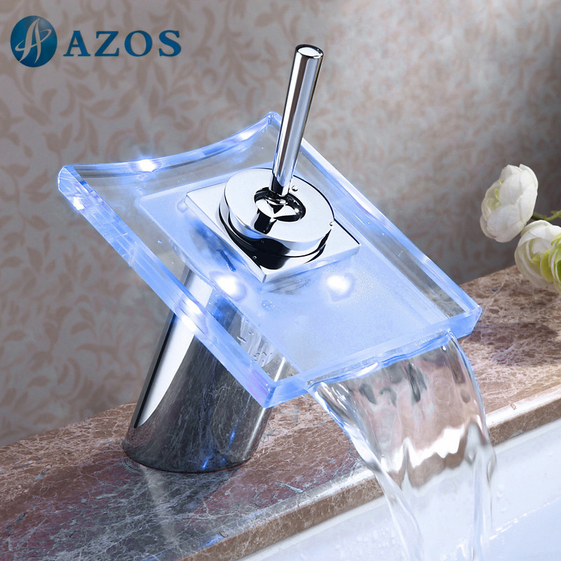 Amazing Bathroom Sink Faucets LED Light Round Chrome Polish Glass Waterfall Spout  Deck Mount Single Handle Toilet Pictures Gallery
