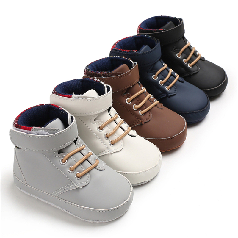Toddler Baby Boys Grils Shoes Leather Plaid Boots Kids Anti-Slip Soft Sole Boots Fashion Casual Winter Boots