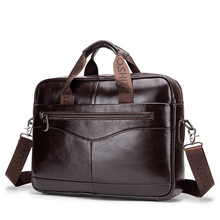 Maletín de cuero genuino para hombre, maletín de alta calidad, para oficina, portátil, negocios, WBS723