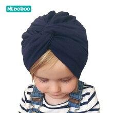 Medoboo Baby Girls Cap Cotton Bowknot Turban Hat for Infant Elastic Headscarf Newborn India Bandanas Solid Color 10