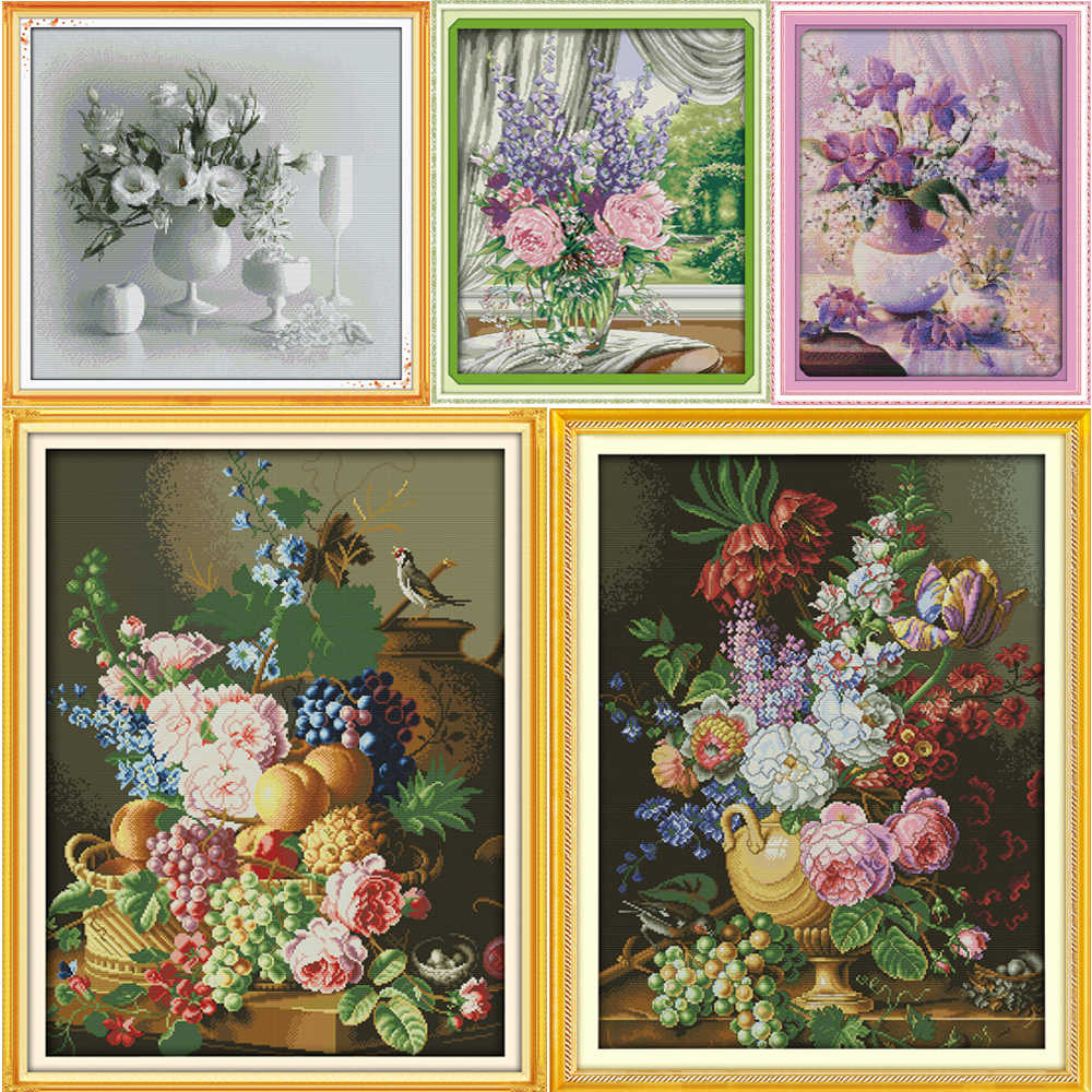 Beautiful Vase Counted Cross Stitch Kits Printed Canvas DMC Stamped Cross Stitch Kit Cross-stitch set Embroidery Hand Needlework