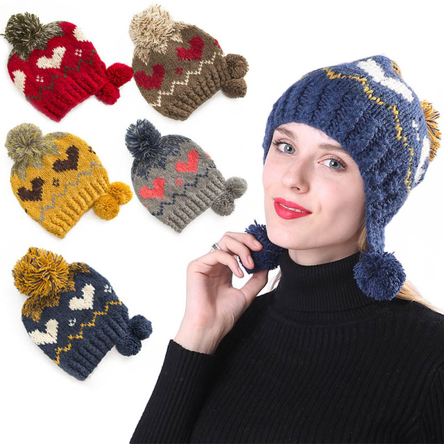 Winter Warm Ball Cap PomPoms Ear Warmer Thick Knitted Beanies Hat for Women  Girls M8694 2c69aa66db7