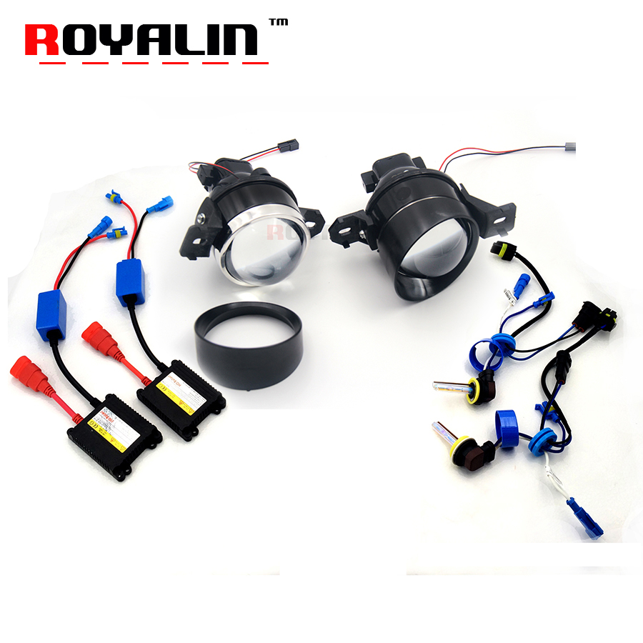 ROYALIN For Nissan Fog Lights Lens Kit Car Styling 3 Metal Bi-Xenon Fog Lamps Projector H11 HID Ballast Ignition AC Retrofit fog light lens for toyota 2 5 full metal bi xenon projector lens with xenon kit auto h11 fog light
