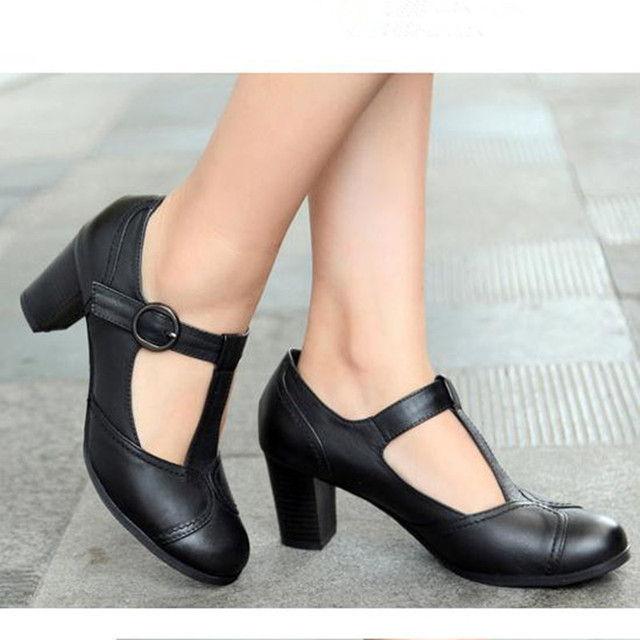 2019 spring summer new retro round head shallow mouth Genuine leather Female high heels Large size Women shoes Mary Jane shoes 10