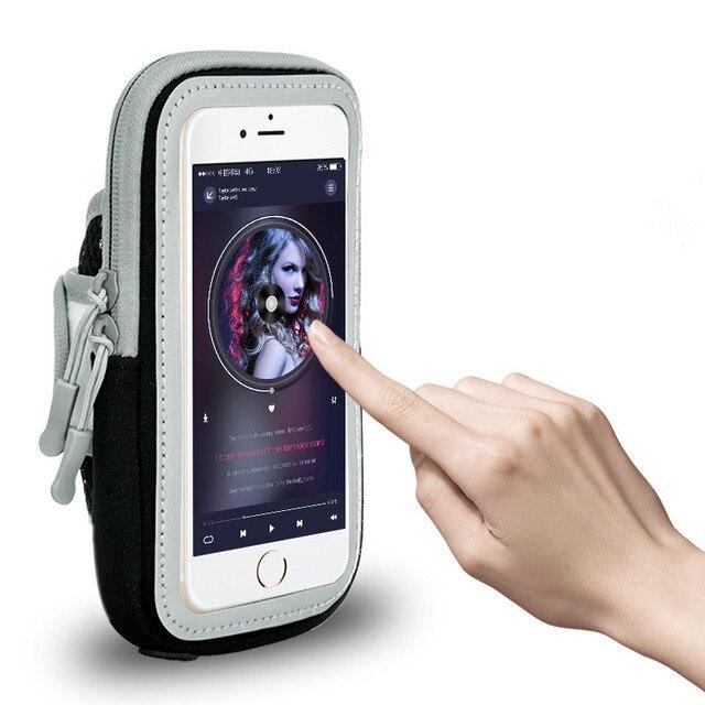 スポーツランニングアームバンドユニバーサル防水携帯電話電話アームバンド真鍮電話ホルダーアームケースポーチ用iphone x