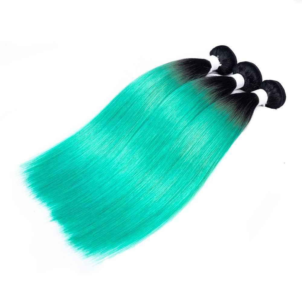 Piaoyi Ombre Braziliaanse Steil Haar Bundels Met Sluiting OT Emerald Kleur 100% Menselijk Haar 3 Bundels Met Sluiting Niet Remy