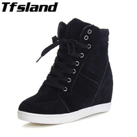 2018 Tfsland Women Height Increasing Shoes Breathable Wedge Ankle Boots Canvas Shoes Sneakers High Top Lace