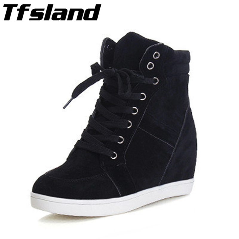 2019 Tfsland Women Height Increasing Shoes Breathable Wedge Ankle Boots Canvas Shoes Sneakers High-top Lace Skateboarding Shoes