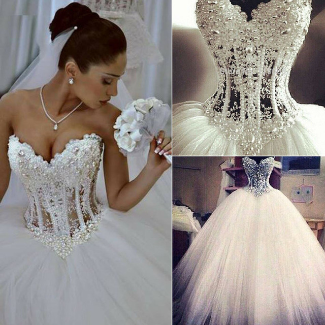 Y New Sheer Bodice Wedding Dresses 2017 White Pearls Bridal Dress Gown Vestido De Noiva