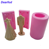 9754 Ladies And Men Wedding Dress And Men Model Fondant Silicone Mold For Soap Candle And