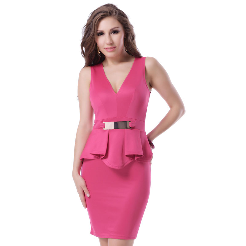 US $16.13 49% OFF|R70066 Ohyeah hot selling plus size short dress high  quality V neck sleeveless peplum dress black and red bar trim elegant  dress-in ...
