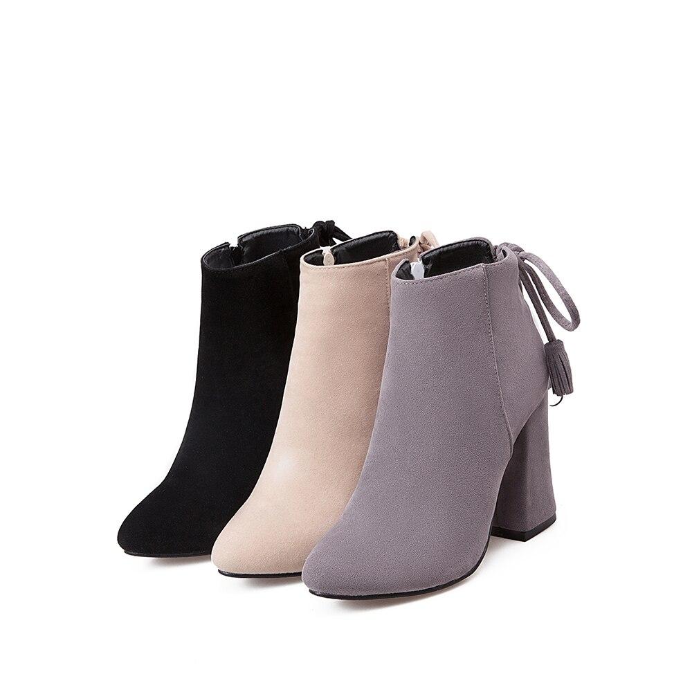 Fur Cheville Chaussures En gray Chaudes Mode Ventes Fur With beige gray Cuir Black Nubuck black Talon Dentelle Gland Martin Bottes Bout Fur Femmes D'hiver Haute beige Pointu Carré up qS6ZwZ1Ex