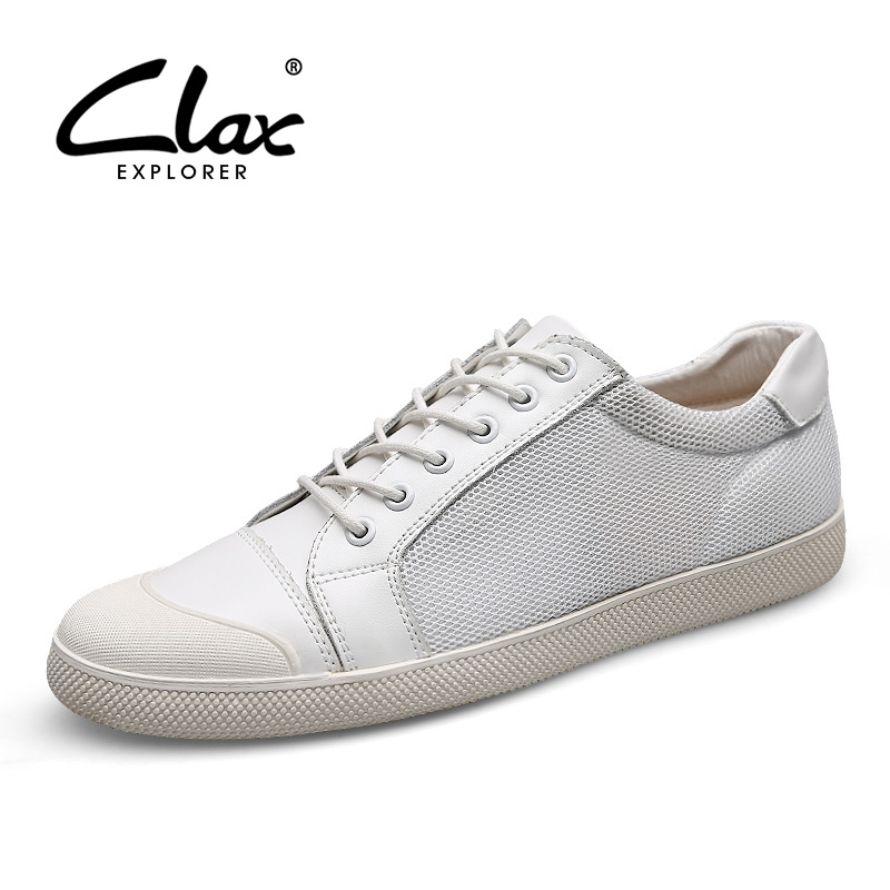 Clax Men's Casual Leather Shoes 2017 Summer Flats Shoe for Male Mesh Footwear Black White Leisure Walking Shoes Breathable Soft male casual shoes soft footwear classic men working shoes flats good quality outdoor walking shoes aa20135