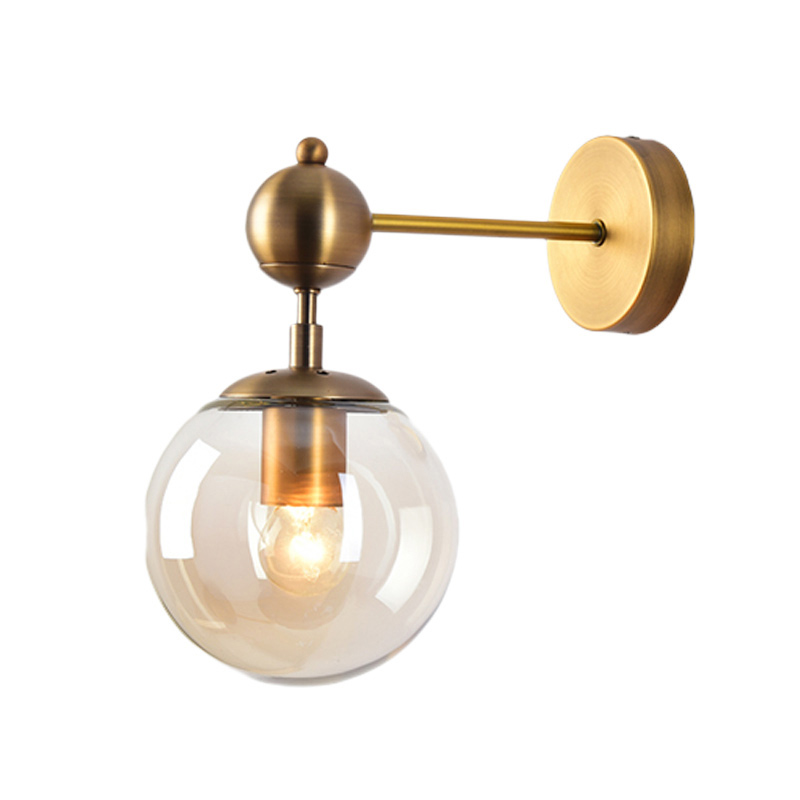 Modern style E27 LED wall lamps Nordic glass ball wall lights for corridor passage Bedroom bedside lamp Wall Sconces AC85 265V in LED Indoor Wall Lamps from Lights Lighting