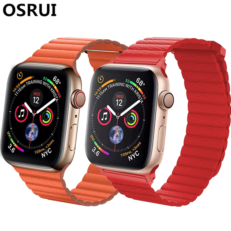 Leather Loop For Apple watch band strap 4 44mm 40mm iwatch correa 3/2/1 42mm 38mm bracelet watchband Magnetic Closure wrist beltLeather Loop For Apple watch band strap 4 44mm 40mm iwatch correa 3/2/1 42mm 38mm bracelet watchband Magnetic Closure wrist belt