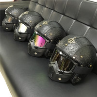 Leather Harley Helmets 3/4 Motorcycle Chopper Bike helmet open face vintage motorcycle helmet with Mask goggle mask motocross
