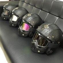 Leather Helmets 3/4 Motorcycle Chopper Bike helmet open face