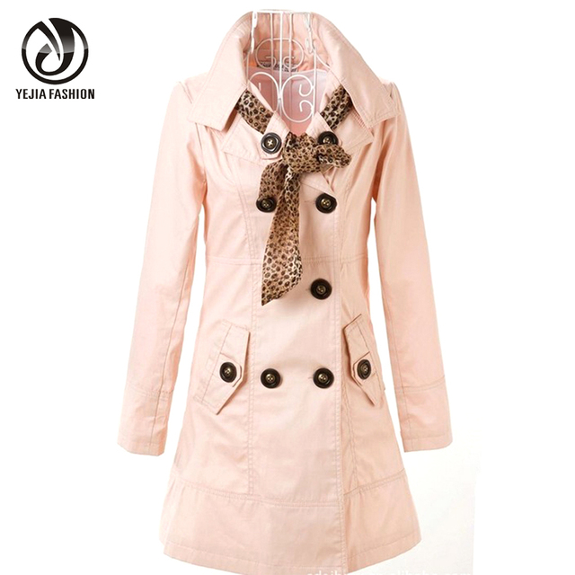 YEJIA FASHION 3XL 4XL Down Coat Women Double Breasted Autumn Trench Coats 2017 Long Sleeve Solid Winter Outwear Pink Windbreaker