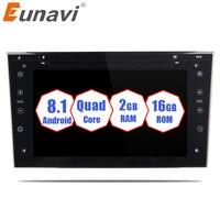 Eunavi Quad Core 2 din Android 8.1 Car Radio GPS Navigation Stereo for Vauxhall Opel Astra H G Vectra Antara Zafira Corsa 2G RAM