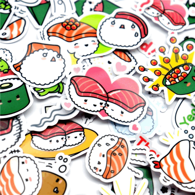 40pcs/pack Creative Kawaii Self-made Japanese Cute Sushi Stickers Scrapbooking Stickers /DIY Craft Photo Albums