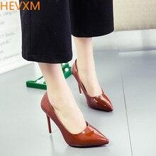 HEVXM Весной новый 6-цветной женская мода сексуальные туфли на высоком каблуке обувь остроконечные с ног рабочая обувь размер 33-40 с высокой 11 СМ насосы