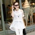 2015 Mulheres Da Moda Camisa de Renda Retalhos de Malha Camisa Mulheres Sólidos Blusas Femininas Plus Size Turn Down Collar Camisas Das Mulheres