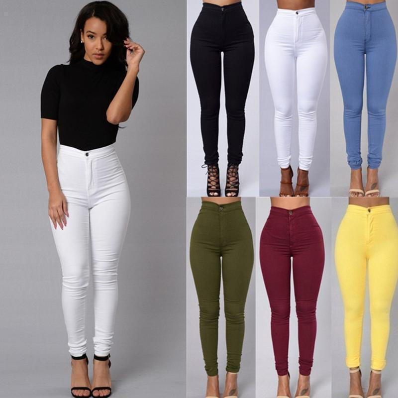 2019 fashion solid color leggings thin section high waist stretch pencil pants tight candy color jeans