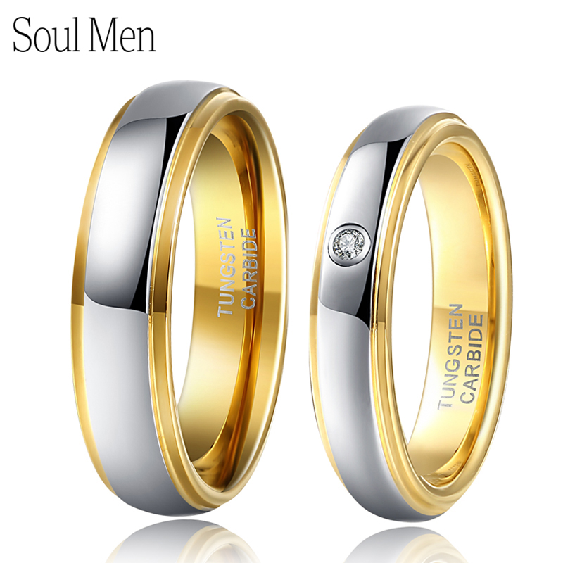 1 Pair Silver & Gold Color Tungsten Couple Wedding Engagement Rings Set 6mm for Him 4mm for Her with CZ Stone anel masculino men wedding band cz rings jewelry silver color anillos bague aneis ringen promise couple engagement rings for women
