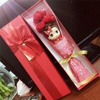 漫画ep造花クリスマス装飾1ピースおもちゃ人形+ 3ピース石鹸花+ボックスロマンチックなバレンタイン誕生日ウェディングギフ