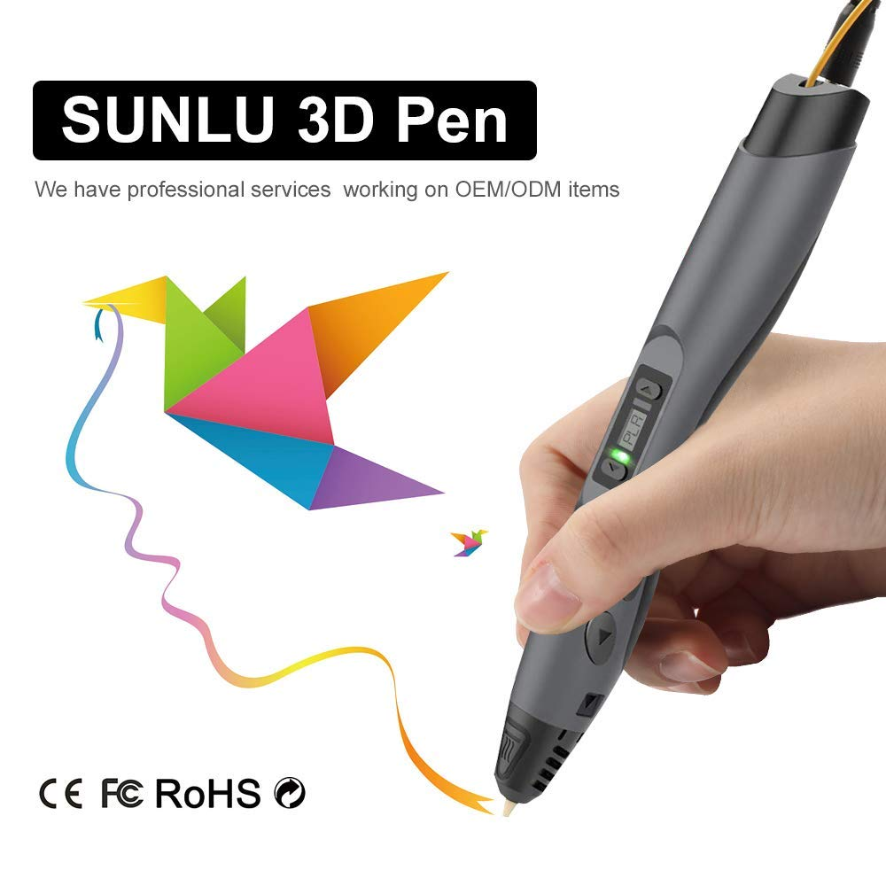 3d pen free ship SUNLU new 3D Pen Modeling 3D DIY Toys sell with free 1.75mm PLA ABS Filament LCD Screen Support Portable Power