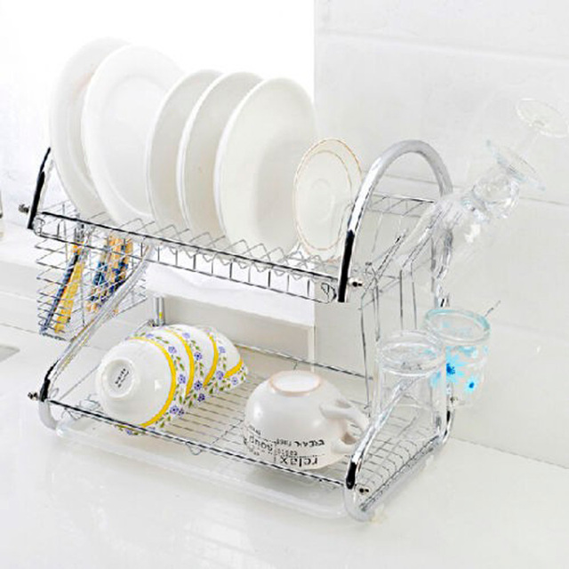 2 Tier Chrome Plate Dish Cutlery Cup Drainer Rack Drip Tray Plates Holder Silver Kitchen Storage & 2 Tier Chrome Plate Dish Cutlery Cup Drainer Rack Drip Tray Plates ...