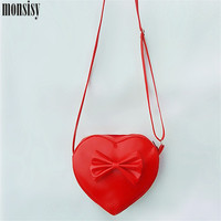 2016 New Princess Messenger Bags Cute Red Heart PU Girls Mini Bags Kids Baby Fashion Lovely