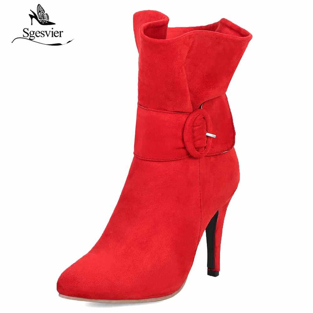 Sgesvier Women Ankle Boots Thin High Heels 2018 Fashion Wedding Shoes Woman Flock Winter Boots Ladies Shoes Female Botas OX972