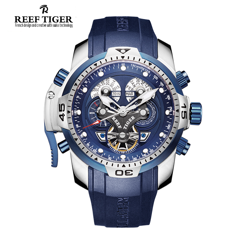 Reef Tiger/RT Designer Sport Mens Watch with Perpetual Calendar Date Day Complicated Blue Dial Mechanical Watch RGA3503 2017 reef tiger rt mens designer chronograph watch with date calfskin nylon strap luminous sport watch rga3033