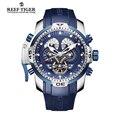 Reef tiger/rt designer esporte mens watch com calendário perpétuo data dia complicado mostrador azul relógio mecânico rga3503