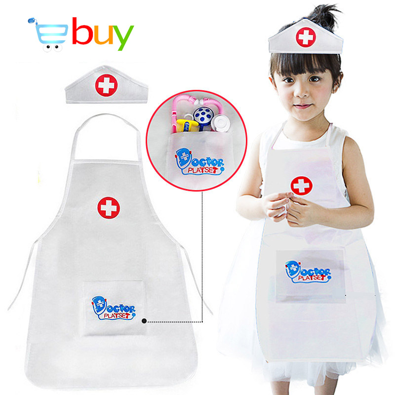 Children Pretend Play Doctor Nurse Uniform Role Play Performing Costume Cosplay Game Clothing Props for Festival Birthday Gifts image
