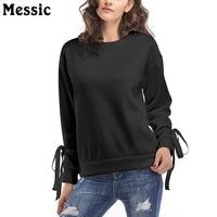 Messic Lace Up Long Sleeve Autumn Winter Hoodies Sweatshirt Women 2018 Casual Loose Hoodie Ladies Pullover