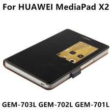 Caso de cuero de vaca para huawei mediapad x2 funda protectora cubierta elegante protector de la tableta de cuero genuino para honor x2 gem-703l gem-702l 701l