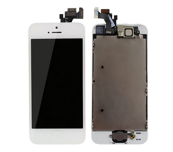 Lcd display screen+touch glass panel digitizer+Home button+Front camera flex cable assembly for iphone 5 5g white free shipping