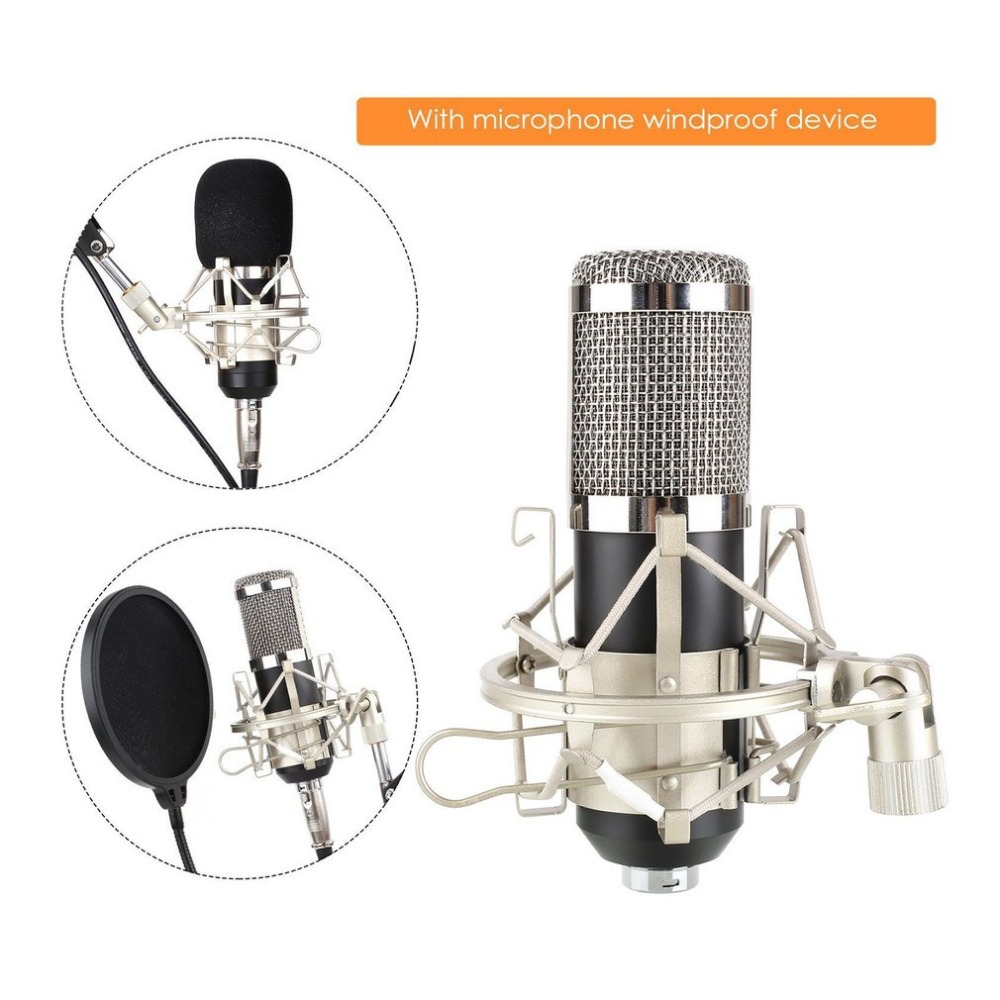 Professional BM800K Mikrofon Audio Vocal Studio Condenser Microphone Set 3.5MM Wired Computer Microphone for Recording 3 5mm jack audio condenser microphone mic studio sound recording wired microfone with stand for radio braodcasting singing
