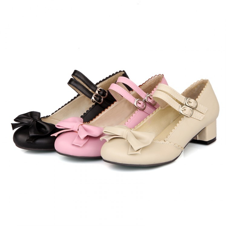 Women Lolita Mary Janes Bowtie High Heel Ankle Strap Pumps Shoes Plus Size 34-47