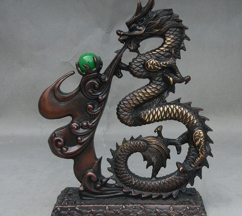 9 Rare Chinese Palace Fengshui Bronze Zodiac Dragon Word  shaped Lucky Statue9 Rare Chinese Palace Fengshui Bronze Zodiac Dragon Word  shaped Lucky Statue