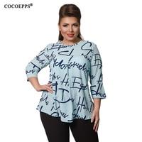 Plus Size Letter Print Women Tops Autumn Chiffon Women Blouse 5XL 6XL Office Lady Blusas Fashion